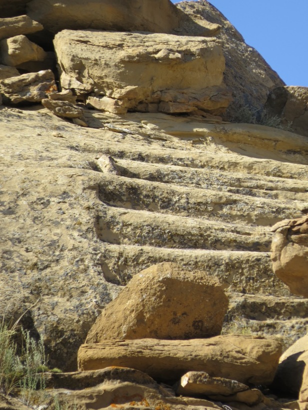 Ancient stairway in cliff at Chaco
