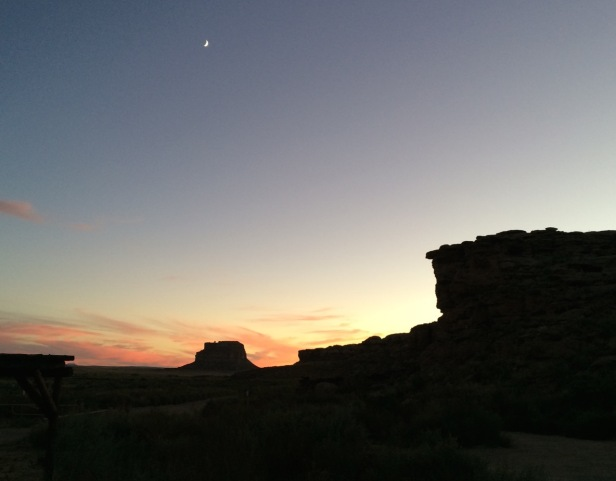 Fajada Butte and the Moon--from my campsite