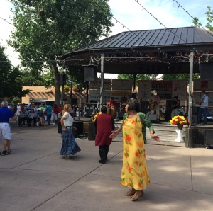 Dancers & live music in the Santa Fe plaza in 2015--remembering 1977...