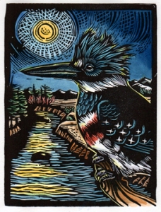 belted kingfisher art by Claire Emery