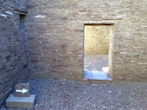 Arrows keep visitors from getting lost in Pueblo Bonito's maze