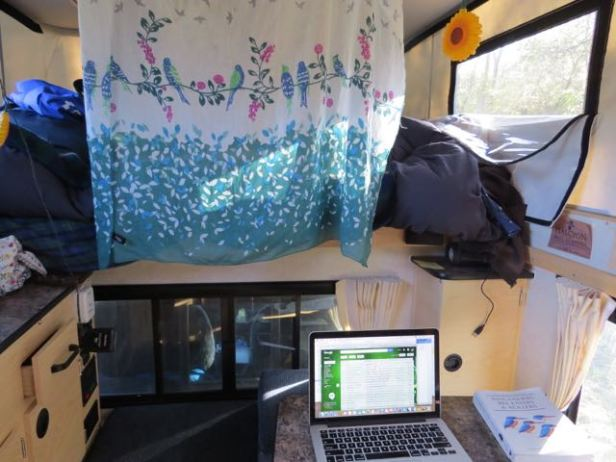 My writing studio inside my four wheel pop-up camper.