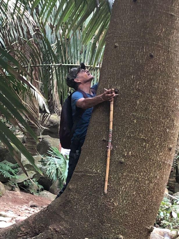 Mauricio hugs the tree